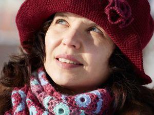 Шляпка из мериносовой шерсти  винном цвете. Ярмарка Мастеров - ручная работа, handmade.