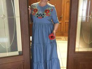 Ткани для пошива платья с ярусами в пол и вышивкой на груди. Ярмарка Мастеров - ручная работа, handmade.