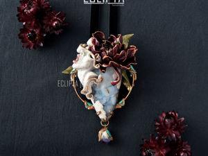 ВИДЕО. Кулон Desire из полимерной глины, скульптура, цветок пион, халцедон. Ярмарка Мастеров - ручная работа, handmade.