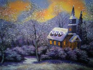 Картина из каменной крошки  «Зимний вечер». Ярмарка Мастеров - ручная работа, handmade.
