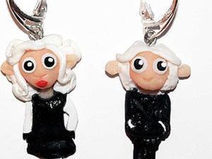 """Серьги """"Светские овечки"""" из полимерной глины своими руками. Ярмарка Мастеров - ручная работа, handmade."""