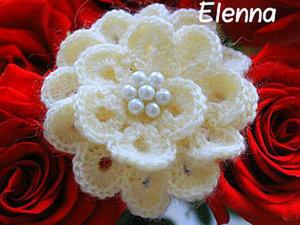 Вяжем цветок-брошку. Ярмарка Мастеров - ручная работа, handmade.