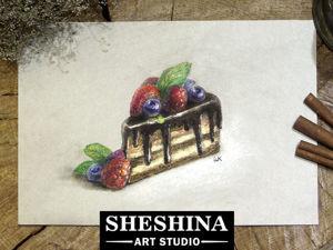 Видео мастер-класс: рисуем сухой пастелью кусочек шоколадного торта с ягодами. Ярмарка Мастеров - ручная работа, handmade.