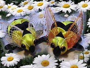 """Творим с детьми: поделка """"Пчелка"""" из атласных лент. Ярмарка Мастеров - ручная работа, handmade."""