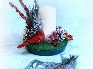 Мастерим новогоднюю свечу с птицей. Ярмарка Мастеров - ручная работа, handmade.