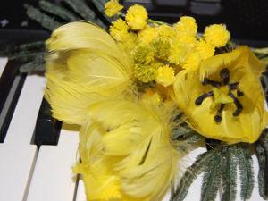 Мастерим цветы из перьев: солнечный тюльпан. Ярмарка Мастеров - ручная работа, handmade.