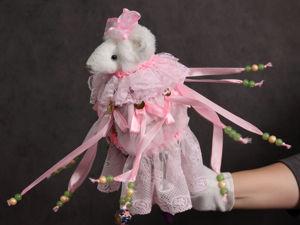 Мышка  «Розовое облако»  — игрушка на палочке. Ярмарка Мастеров - ручная работа, handmade.