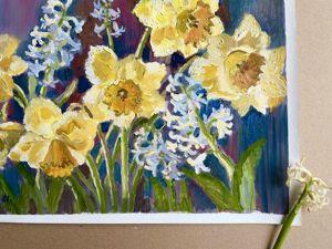 Желтые нарциссы — солнечные цветы. Новая картина. Ярмарка Мастеров - ручная работа, handmade.