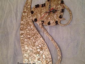 """Создание настенных часов """"Кошка-хамелеон"""". Ярмарка Мастеров - ручная работа, handmade."""