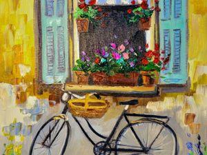 Рисуем маслом пейзаж с велосипедом. Ярмарка Мастеров - ручная работа, handmade.