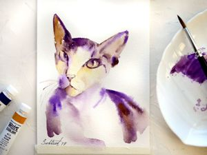 Sphynx Cat Watercolour Drawing. Livemaster - handmade