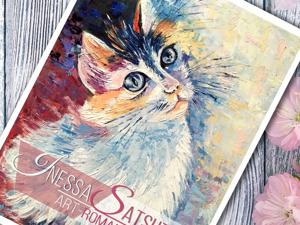 Рубрика  «Этапы работы»  над картиной маслом «Солнечный кот». Ярмарка Мастеров - ручная работа, handmade.