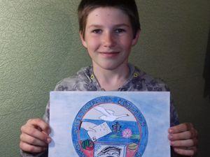 Паша рисует эмблему на конкурс  « Избирательная комиссия Икрянинского района». Ярмарка Мастеров - ручная работа, handmade.