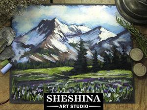 Видеоурок: рисуем горный пейзаж с подснежниками сухой пастелью. Ярмарка Мастеров - ручная работа, handmade.