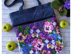 Летний шоппер с цветами. Ярмарка Мастеров - ручная работа, handmade.