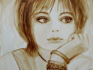 Как нарисовать кофейный портрет девушки. Ярмарка Мастеров - ручная работа, handmade.