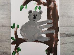 Как нарисовать ладошками коалу? Пальчиковый метод. Ярмарка Мастеров - ручная работа, handmade.