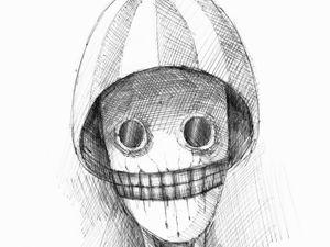 День 258. Набросок ручкой  «Арбузная голова». Ярмарка Мастеров - ручная работа, handmade.
