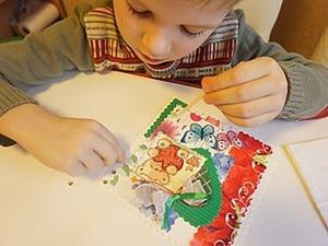 Мастерим с детьми красочную открытку-коллаж. Ярмарка Мастеров - ручная работа, handmade.