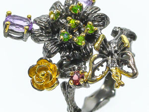 Скидка 20% на серебряное кольцо с аметистами  «Бабочка» , размер 18,25. Ярмарка Мастеров - ручная работа, handmade.