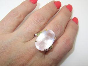 Кольцо с розовым кварцем серебряное. Ярмарка Мастеров - ручная работа, handmade.