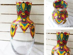 Делаем ручную роспись на стеклянной вазе. Ярмарка Мастеров - ручная работа, handmade.