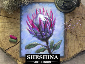 Видеоурок: как нарисовать сухой пастелью цветок «Протея». Ярмарка Мастеров - ручная работа, handmade.
