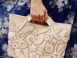 Декорируем пляжную сумку вязаными ракушками и морскими звездами. Ярмарка Мастеров - ручная работа, handmade.
