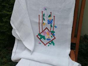 Старинная шторка на дверной проем с вышивкой . ЛЕН. Ярмарка Мастеров - ручная работа, handmade.