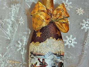 Мастер-класс по декорированию бутылки шампанского в технике декупаж. Ярмарка Мастеров - ручная работа, handmade.