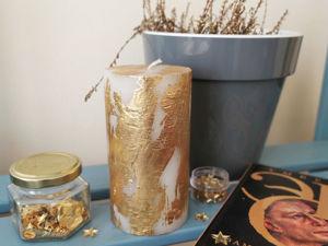 Декорируем свечу золотой поталью. Ярмарка Мастеров - ручная работа, handmade.