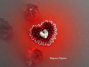 Создаем брошь «Красное сердце» из бисера. Ярмарка Мастеров - ручная работа, handmade.