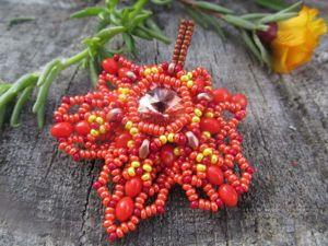 Плетем осеннюю брошь «Кленовый лист». Ярмарка Мастеров - ручная работа, handmade.