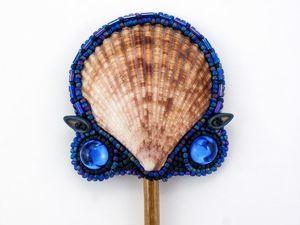 Шпилька для волос с ракушками и кристаллами. Украшение для волос ручной работы. Ярмарка Мастеров - ручная работа, handmade.