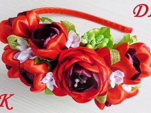 Видео мастер-класс: делаем ободок с цветами из атласных лент. Ярмарка Мастеров - ручная работа, handmade.