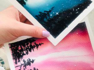 Рисуем северное сияние за две минуты. Ярмарка Мастеров - ручная работа, handmade.