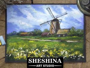 Рисуем пейзаж с мельницей сухой пастелью. Ярмарка Мастеров - ручная работа, handmade.