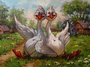 Пишем картину «Два весёлых гуся» в детскую комнату. Ярмарка Мастеров - ручная работа, handmade.