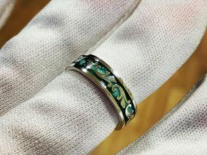 Серебряное кольцо с горячей эмалью. Ярмарка Мастеров - ручная работа, handmade.