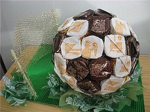 Делаем конфетный мяч к 23 февраля. Ярмарка Мастеров - ручная работа, handmade.