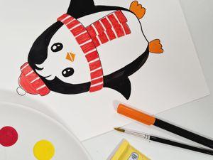 Рисуем с детьми: урок «Пингвин». Ярмарка Мастеров - ручная работа, handmade.
