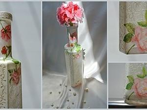 """Идея декорирования вазы для одного цветка """"Нежность лепестка"""". Ярмарка Мастеров - ручная работа, handmade."""