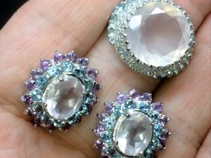 Серьги и кольцо с розовым кварцем серебряные. Ярмарка Мастеров - ручная работа, handmade.
