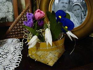 Плетеная корзиночка с цветами из крепированной бумаги, часть 2. Ярмарка Мастеров - ручная работа, handmade.