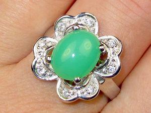 Кольцо с хризопразом серебряное. Ярмарка Мастеров - ручная работа, handmade.