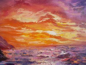 Рисуем картину маслом на холсте: море, закат, скалы. Ярмарка Мастеров - ручная работа, handmade.