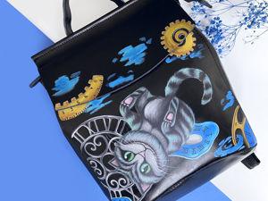 Видео рюкзака с ручной росписью Чеширский кот. Ярмарка Мастеров - ручная работа, handmade.