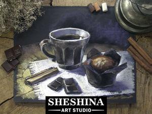 Видеоурок: рисуем сухой пастелью натюрморт с чашечкой кофе, маффином и шоколадом. Ярмарка Мастеров - ручная работа, handmade.