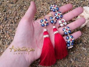 Создаем браслет и серьги-кисти в морском стиле «Пора в круиз». Ярмарка Мастеров - ручная работа, handmade.