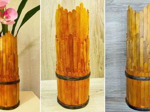 Делаем вазу из палочек для мороженого и пластиковой бутылки. Ярмарка Мастеров - ручная работа, handmade.